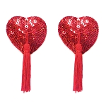 Red Sequin Heart Pasties